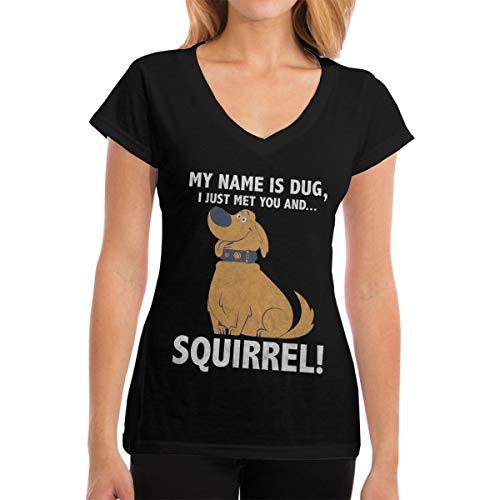 Up My Name is Dug Squirrel Women V Neck T-Shirt Short Sleeve Short Tops Black