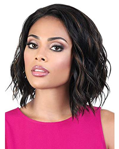 Qe Tanika Half Wig by Motown Tress in 1B, Length: Medium