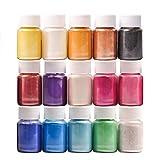 DEWEL 15er×10g (10ml) Epoxidharz Farbe, Metallic Farbe Resin Farbe Seifenfarbe Set Pigment, Mica...