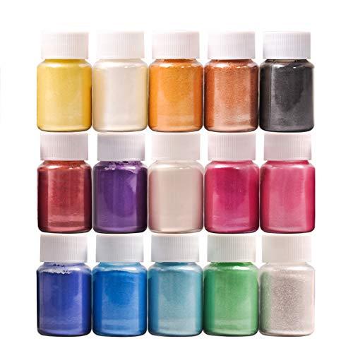 DEWEL 15er×10ml Epoxidharz Farbe, Metallic Farbe Resin Farbe Seifenfarbe Set Pigment, Mica Pulver Powder für Seife Epoxy Epoxydharz Kunstharz Gießharz, Jede Farbe ca. 10g