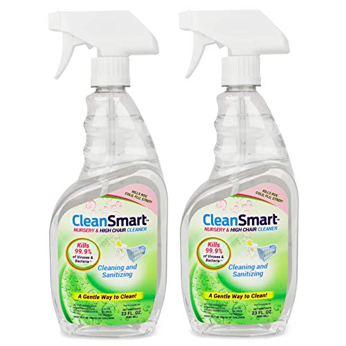 CleanSmart Nursery & High Chair Cleaner, 23 Ounce Bottle (Pack of 2), Hypochlorous Naturally Kills 99.9% Viruses and Bacteria with no Harmful Residue