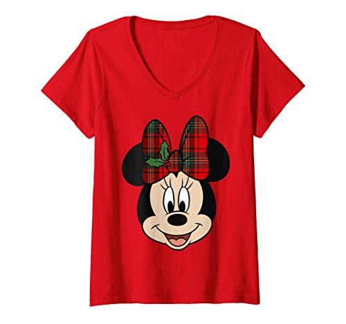 Womens Disney Minnie Mouse Christmas Bow V-Neck T-Shirt