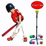 Macro Giant 27インチ 発泡野球バット&ボール(Tボール)セット、子供のための1つの赤い野球用バットと8つの野球、盛り合わせ色、ジュニアバッティングトレーニング、初心者、学校の遊び場、トレーニングと練習