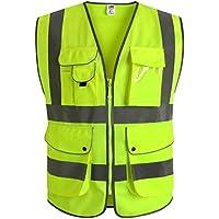 JKSafety Nueve bolsillos Nivel 2 Uniforme trabajo Chaleco con cremallera-Chaleco reflectante fluorescente-Chaleco de segurida(XX-Large)