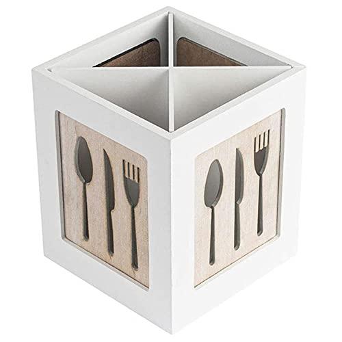 douzxc Soporte para utensilios de madera Cubiertos Cubiertos de cocina Cubiertos de almacenamiento Cubiertos Cucharas Tenedores s Organizador de palillos