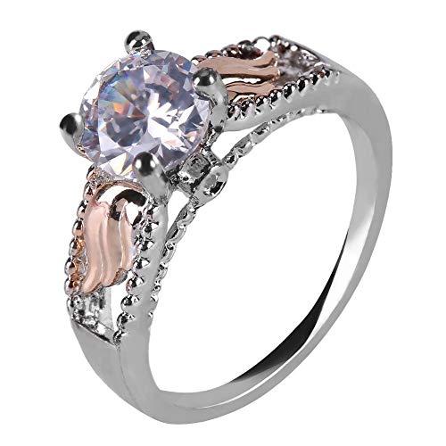 Anello di moda placcato oro con zirconia cubica taglio solitario, anello di fidanzamento per donna, ragazza