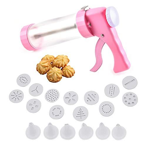 No-Branded Lmbqye Macchina per Biscotti, Kit Pistola per Biscotti, Macchina per Biscotti Pasticceria con 19 Accessori, Ideale per Preparare Biscotti Frollini (Dimensioni: 21 * 14 cm)