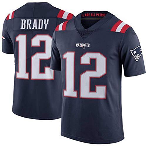 YDYL-LI American Football New England Patriots # 12 Tom Brady Fans - Trikot Atmungsaktiv - Entspannt Und Komfortabel T-Shirt - Sweatshirt, Dunkelblau - Streifen,XL