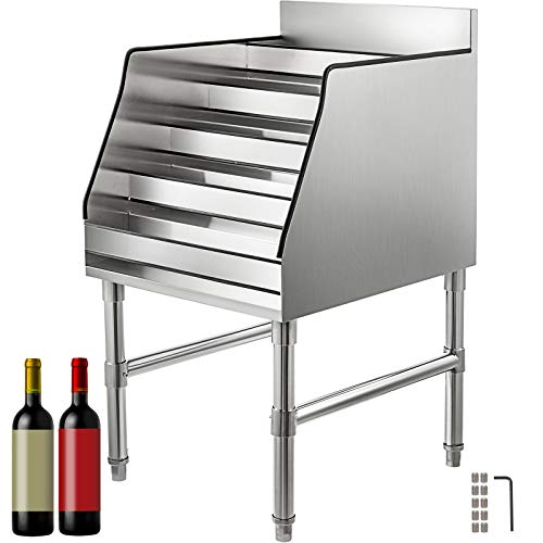 VBENLEM 18x23 Inch Liquor Bottle Display Shelf 5-Tier Stainless Steel Liquor Display Rack Wine Bottle Holder Rack Storage Stand for Home Party Bar