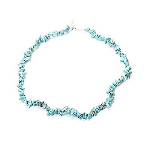 Yowablo Halskette handgemachte gemischte natürliche Edelstein Chip Perlen Stretchy Healing Reiki (F)