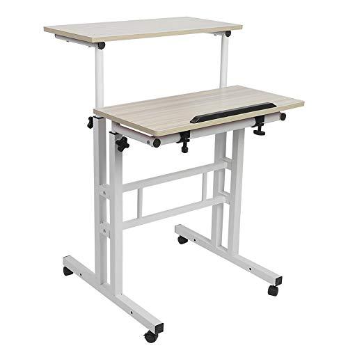 Schreibtisch Computertisch BüRotisch,Computer Schreibtisch 60cm Höhenverstellbarer Stand-Up-Laptop-Schreibtisch Computer-Stehpult mit Rollen(Weißer Ahorn)