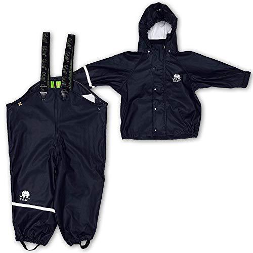 Celavi Baby Unisex Regen Anzug, Jacke und Latzhose mit Hosenträgern, Alter 9-12 Monate, Größe: 80, Farbe: Dunkelblau, 1145