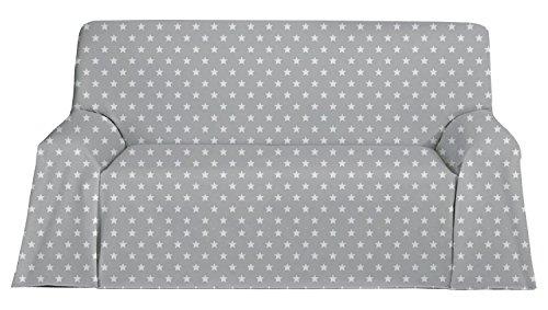 Martina Home Candy Star Foulard Multiusos, Tela, Gris, 130 x 180 cm