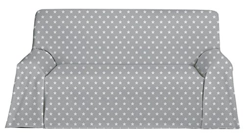 Martina Home Candy Star Foulard Multiusos, Tela, Gris, 130 x
