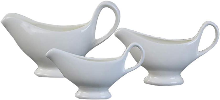 GZQ Gravy Boat Porcelain Sauce Jug Container Condiment Bowl S//140ML