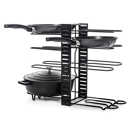 Home Treats - Soporte para cacerolas de doble cara con 8 niveles, color negro