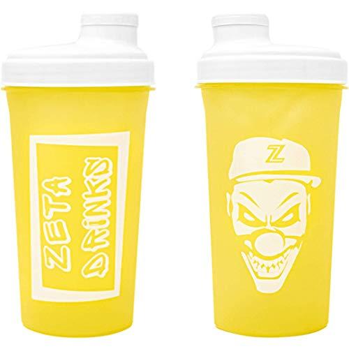 ZETA DRINKS SHAKER Botella de agua mezcladora de bebidas energéticas y de proteínas Con tapa antigoteo 700ml | 1 UNIDAD (Amarillo)