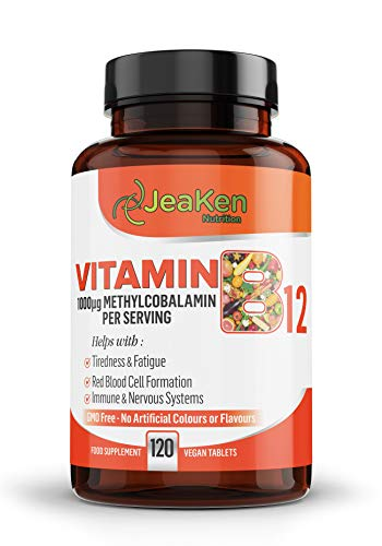 JeaKen - Vitamin B12 High Strength - 1000mcg B12 Methylcobalamin - Vitamins For Tiredness And Fatigue - Supports The Red Blood Cell Formation - Immune and Nervous Systems - 120 GMO Free Vegan Tablets
