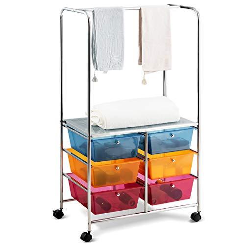 Giantex 6 Drawer Storage Cart, Office School Organizer Cart, Rolling Drawer Cart for Tools, Scrapbook, Paper or Bathroom, Storage Shelf (Blue,Orange & Red)