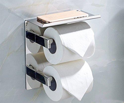 CASEWIND Hochwertig Edelstahl Konstruktion Doppel Klorollenhalter Wandmontieren Toilettenpapierhalter mit Ablage für WC Badezimmer Modern Silber Chrom Finished