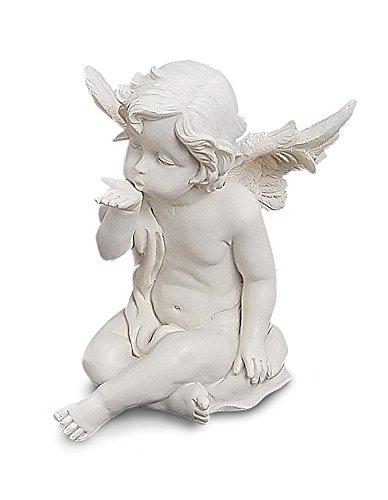 Engel Figur sitzend aus Polystein weiß 13 cm groß, schöne Deko Statue Schutzengel mit Handkuss Geste, ein ganz persönlicher Beschützer