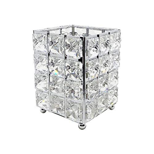 Miaowater Makeup Brush Holder Organizer Cosmetic Brushes Storage Eyeliners Eyebrow Pencil Container Crystal Bling Personalized Box (Silver Square)