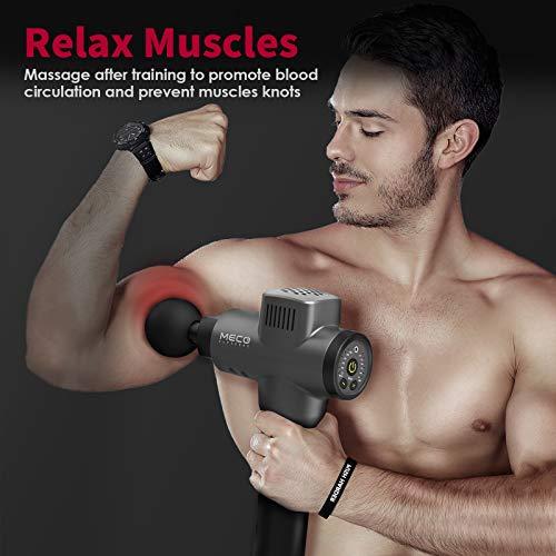MECO ELEVERDE Massaggio Muscolare Massaggiatore Ampiezza 12mm 3200RPM 5 Testine Massaggio 6 Velocità Regolabile Pistola Massaggio Elettrico Massage Gun Portatile Silenzioso Percussione Collo Spalla