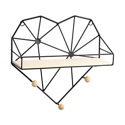 HJW Praktische opbergrek woondecoratie drijvende planken met haak hartvorm, wandplank opknoping opbergrek voor woonkamer slaapkamer keuken kinderkamer 1Huiyang-01020, zwart