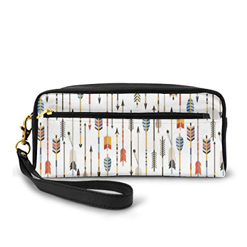 Pencil Case Pen Bag Pouch Stationary,Colorful Indian Arrows Native Style Artwork For Hunters,Small Makeup Bag Coin Purse