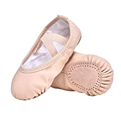 ⭐ Leather sole+ Breathable PU upper; Easy to clean with wet dishcloth. ⭐ Feature: 3D embroidery in PU upper is so cute for our little children,pefect for dancing, gymnastics,party and wedding. ⭐ Premium Material:Professional Soft Ballet Shoes With br...