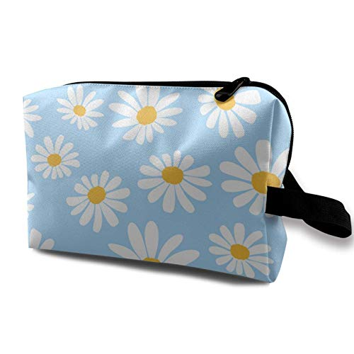 Travel Makeup Storage Bag- Portable Toiletry Handbag Small Cosmetic Organizer Pouch for Women & Men- Daisy Flower On Blue