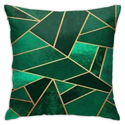 Traveler Shop Decorative Pillow Covers, Cushion Cover, Invisible Zip-Emerald Green Illustration 18x18in