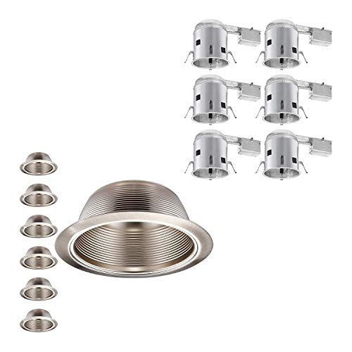 "6 Pack 6/"" INCH RECESSED CAN LIGHT STEP TRIM BAFFLE SILVER SATIN NICKEL R30 PAR30"