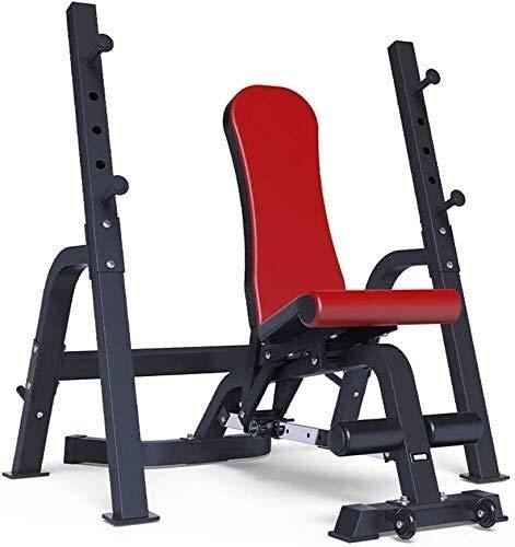 Cnley Banco de pesas plegable para banco de pesas, ajustable, para sentadillas, para el hogar, para fitness, bancos, equipos de fitness, color azul (color: rojo)