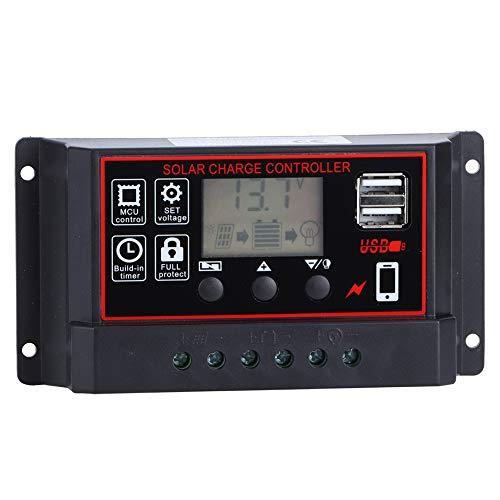 Controlador de Carga Solar -20A 12V 24V Controlador de Carga Solar Panel Solar Inteligente Regulador de batería Pantalla LCD Parámetro Ajustable