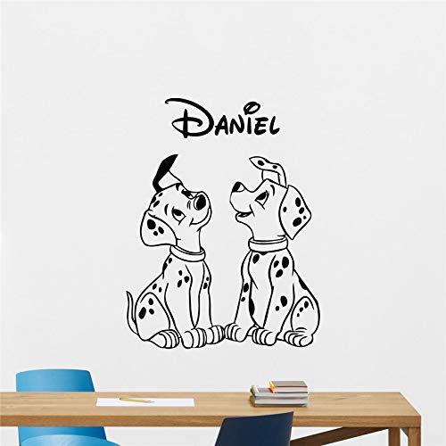 zhuziji Dalmatiner Wandtattoo Benutzerdefinierte Name Hund Schlafzimmer Vinyl Aufkleber Cartoons Film Schriftzug Junge Kinderzimmer Wandaufkleber 888-1 87x114 cm