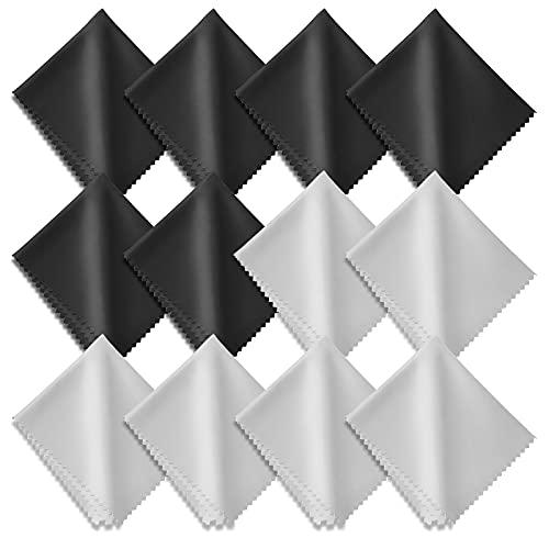 Hifot toallitas Limpia Gafas 12 Piezas, Paños de Microfibra para Limpiar para la Limpieza de los Lentes, Gafas, Tabletas, Telefonos, Cristales, Pantalla - 5.7'/14.5cm *6.9'/17.5cm