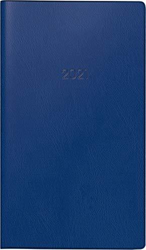 Brunnen 1075328301 Taschenkalender/Monats-Sichtkalender Modell 753, 2 Seiten = 1 Monat, 8,7 x 15,3 cm, Kunststoff-Einband dunkelblau, Kalendarium 2021