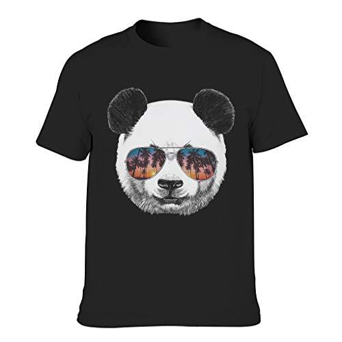 Lässig – Camiseta para hombre, diseño vintage de panda con gafas de sol, estampado de árboles negro L