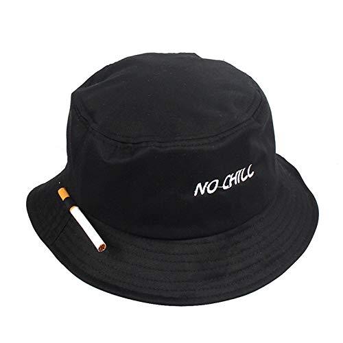 Fischer Hut,Mode Bucket Hat No Chill Briefstickerei Faltbar Schwarz Anti-Uv Sonnenhüte Für Camping Wandern Outdoor Sport Freizeit Cap Unisex