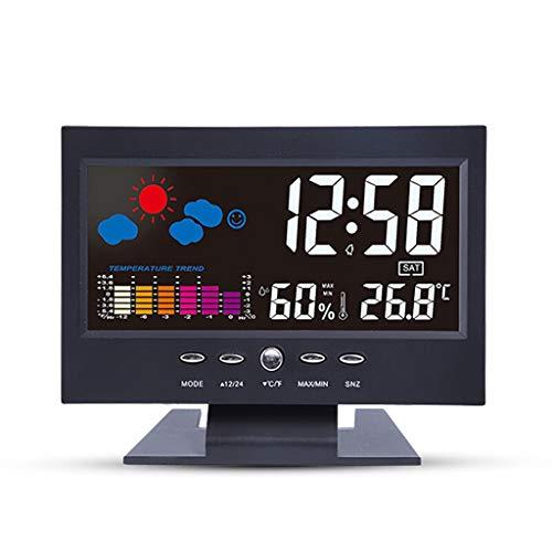 Thermomètre Thermomètre affichage de l'ordinateur Section thermomètre électronique multifonction grand écran avec Météo Prévisions Perpétuel Horloge de bureau lumière Thermomètre et hygromètre Higróme