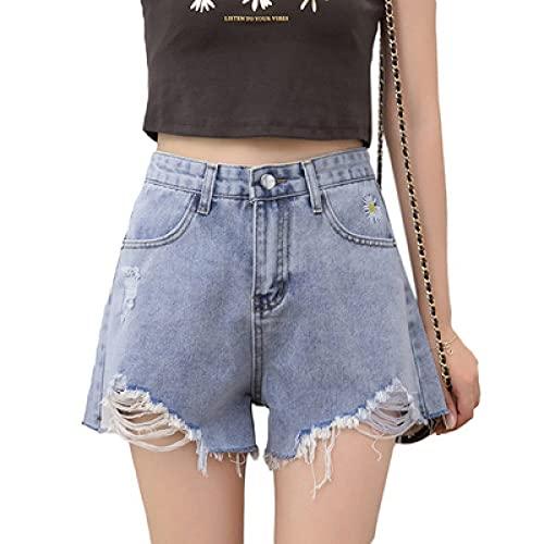 Pantalones Cortos de Mezclilla pequeños con Bordado de Margaritas nuevos de Primavera y Verano para Mujer Small