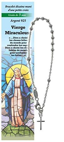 Pulsera Decenario Virgen de los Milagros de plata 925 con cuentas de Ø 3 mm y una oración en francés