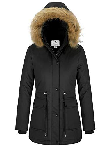 WenVen Women's Winter Waterproof Parka Puffer Coat with Fur Hood(Black, 2XL)
