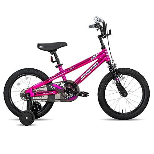 JOYSTAR Pluto - Bicicleta infantil de 20 pulgadas con freno de mano delantero y ruedines, soporte para 7, 8, 9 y 10 años, color rosa