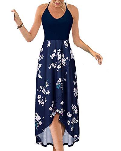 KILIG Women's V Neck Sleeveless Casual Summer Sundresses Asymmetrical Patchwork Floral Maxi Dresses(Floral-K, Large)