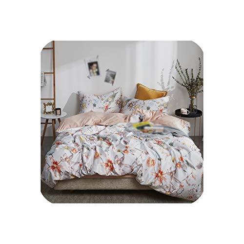 Goods-Store-uk Comforter Beddengoed Sets Tencel Zijde Dekbedovertrek Bed Sheet Kussenslopen Queen King Dubbel Blauw Plant Bed Linnengoed Set