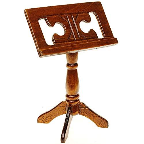 alles-meine.de GmbH Miniatur Notenständer - Dunkles Holz - Maßstab 1:12 - Puppenhaus Notenpult - Diorama - Puppenstubenzubehör - Sänger Chor - Musikinstrument Musik - Instrument ..