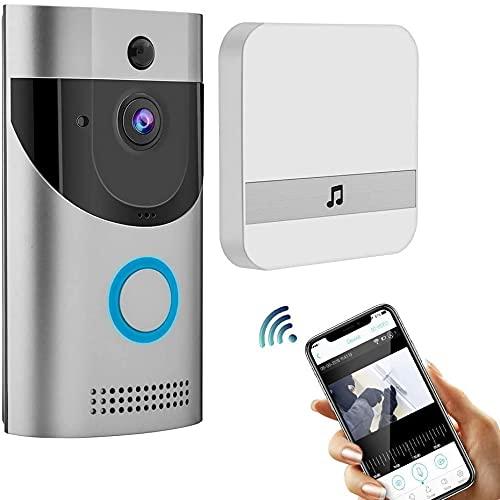 Timbre inalámbrico, Video Doorbell, Video HD de baja potencia 720P, Talk bidireccional, Wi-Fi conectado, Timbre inteligente impermeable IP65, Almacenamiento en la nube, Detección de movimiento PIR y C