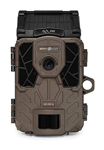 SPYPOINT Solar-W Trail Camera 12MP HD Video Patented Solar Panel&Rechargeable Built-in Battery, High Power LEDs, Super Low Glow, IR Boost Tech, 2' Screen, 0.07s Trigger Speed ((1) Solar-W Camera)